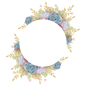 Beautiful love frame background with floral succulent