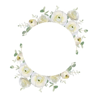 Beautiful love frame background with floral white ranunculus flowers