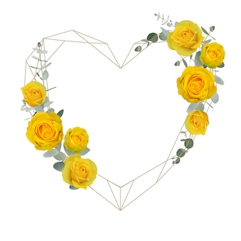 Beautiful love frame background with floral yellow roses