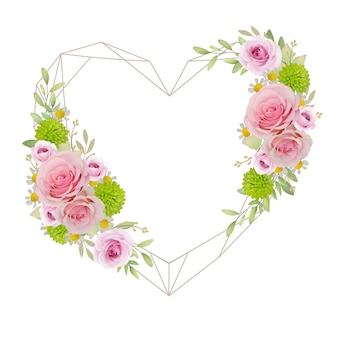 Beautiful love frame with floral pink roses