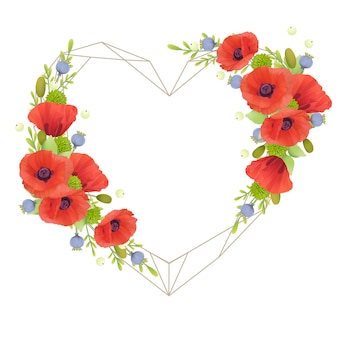 Beautiful love frame  with floral red poppy flowers