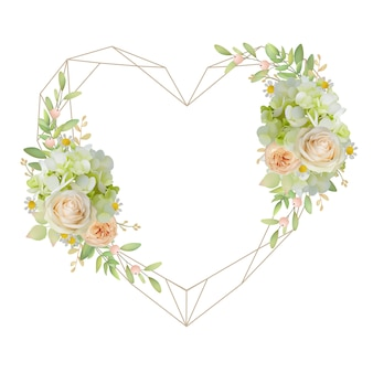 Beautiful love frame with floral roses and hydrangea