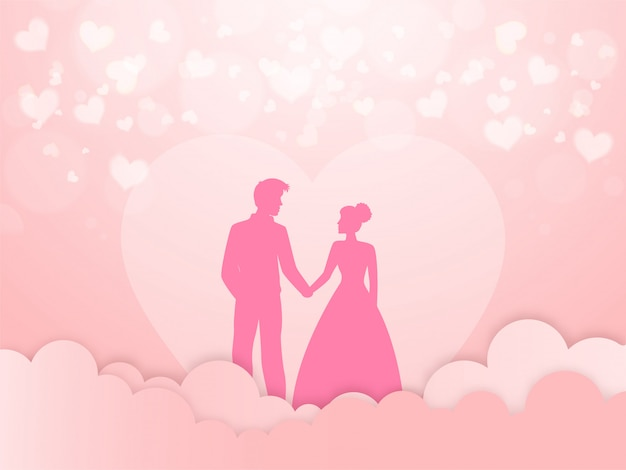 Beautiful love greeting card design, silhouette of romantic couple character on pink paper cut cloudy and hearts background.