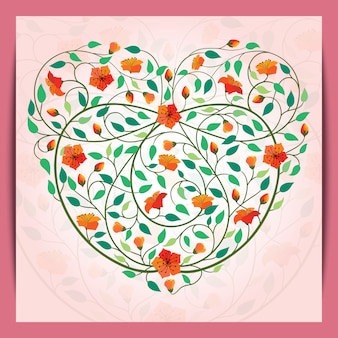 Beautiful love heart icon flower banner background
