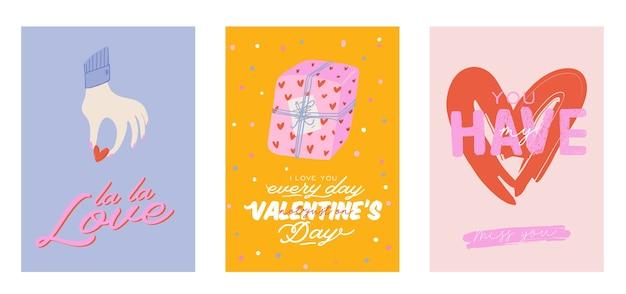 バレンタインデーの要素を持つ美しい愛のプリント。ロマンチックでかわいい要素と素敵なタイポグラフィ。手描きのイラストとレタリング。結婚式、スクラップブック、ロゴ、tシャツのデザインに最適です。