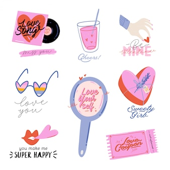 バレンタインデーの要素を持つ美しい愛のプリント。ロマンチックでかわいい要素と素敵なタイポグラフィ。手描きのイラストとレタリング。結婚式、スクラップブック、ロゴ、tシャツに最適です。