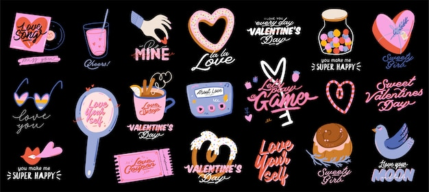 Красивый любовный принт с элементами дня святого валентина. романтичные и милые элементы и прекрасная типографика. вектор рисованной иллюстрации и надписи. подходит для свадьбы, альбома для вырезок, логотипа, дизайна футболки.