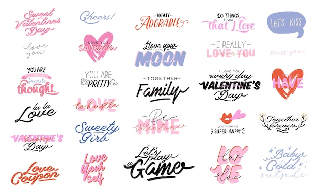 Beautiful love print with valentines day elements. romantic and cute elements and lovely typography. hand drawn illustrations and lettering.