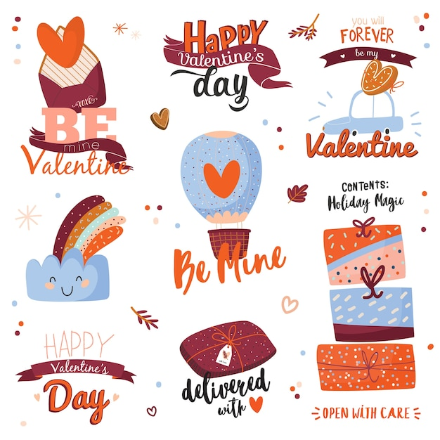 Beautiful love stickers with valentines day elements and lovely lettering. isolated on white background. romantic and cute symbols leter, car, cloud, hearts, ribbon, gifts.