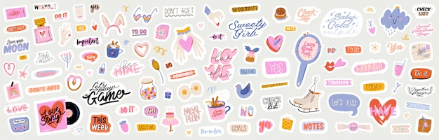 Beautiful love stickers with valentines day elements and quotes. romantic cartoon image and trendy lettering.