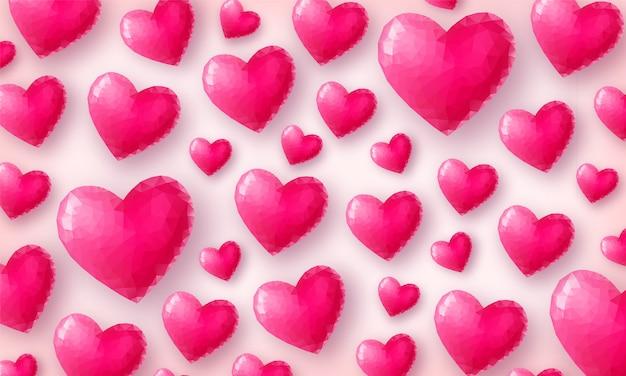 Красивые любовные обои. розовые кристаллические сердца на пастельном розовом фоне вид сверху. низкополигональная символ дня святого валентина. иллюстрация