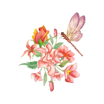 Beautiful lovely watercolor flower and leaves bouquet decoration