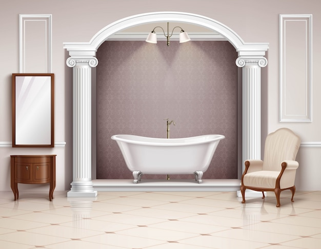 Beautiful luxurious bathroom interior with victorian columns furniture and