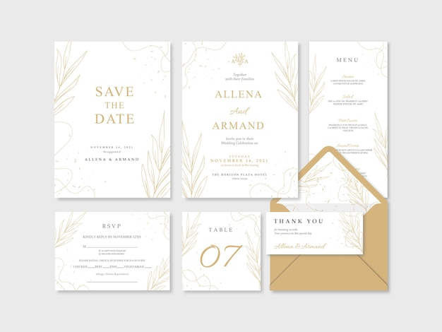 Beautiful luxury gold and white wedding stationery template
