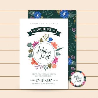 Beautiful luxury green wedding invitation floral illustration