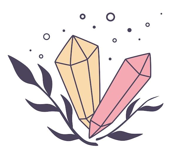 美しい魔法の地質鉱物。光沢のあるクリスタルストーンの天然元素エメラルドとダイヤモンド。ゴシックデザイン、神秘的な魔術師のシンボル、占星術。ハロウィーンのコンセプト。自由奔放に生きるスタイル。ベクトルイラスト。