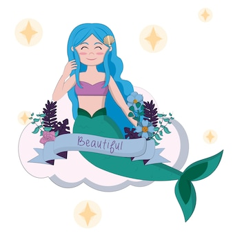 Beautiful and magic mermaid on cloud with ribbon banner
