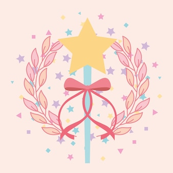 Beautiful magic wand star with ribbon