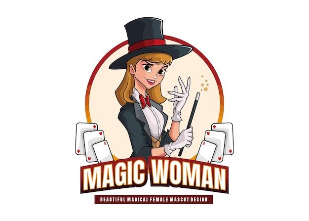 아름다운 마법의 여성 마스코트 디자인