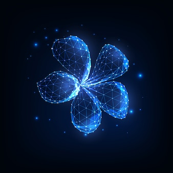 Beautiful magical glowing low polygonal plumeria flower surrounded by stars isolated on dark blue.