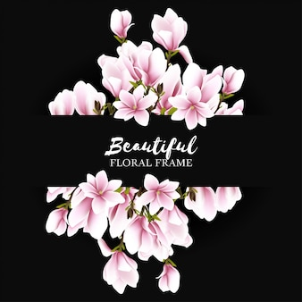 Beautiful magnolia flower frame background