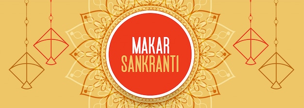 Beautiful makar sankranti festival banner with kites design