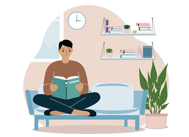 美しい男がソファに座って足を組んで家で本を読む。レジャーと教育の概念。ベクトルイラスト