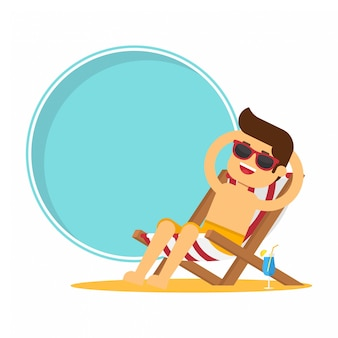Beautiful man sitting in beach chair and taking sunbath on the beach with swimming pool frame and copyspace. summer holidays