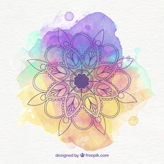 Beautiful mandala background with watercolor