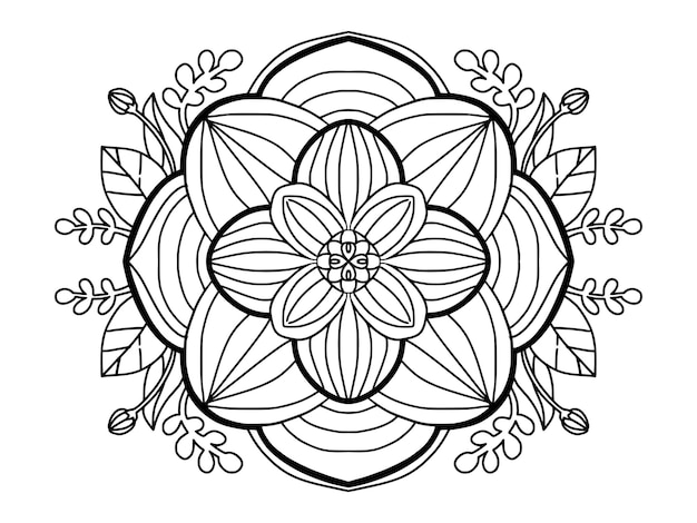 大人のための美しい曼荼羅フラワーラインアートカラーリングページ