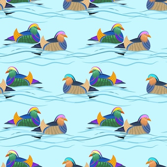 Beautiful mandarin duck in water seamless pattern.