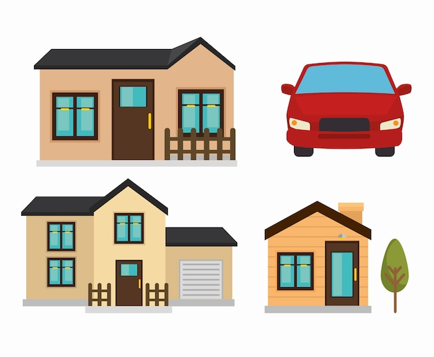 Beautiful mansion and car  isolated icon
