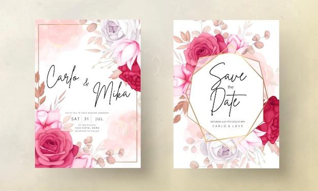 美しい栗色と茶色の花の結婚式の招待カード