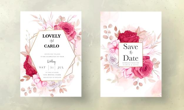 아름다운 적갈색과 갈색 꽃 결혼식 초대 카드