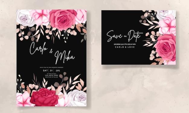 Красивый темно-бордовый и коричневый цветочный свадебный пригласительный билет