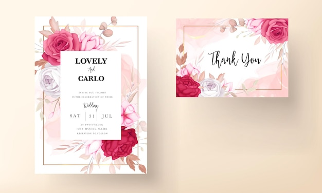 Beautiful maroon and brown floral wedding invitation card