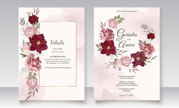 Beautiful maroon floral frame wedding invitation card template