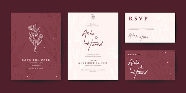 Beautiful maroon wedding invitation set