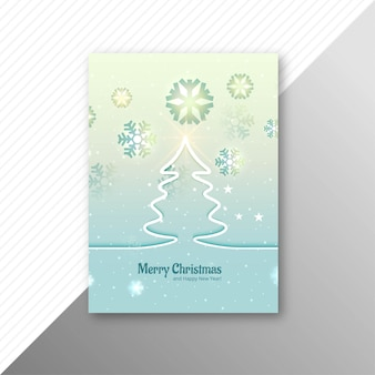 Beautiful marry christmas tree party flyer template