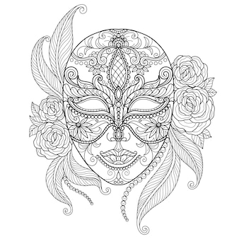 美しいマスク。大人の塗り絵の手描きのスケッチ図