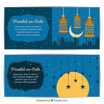 Beautiful mawlid banners of lanterns and stars