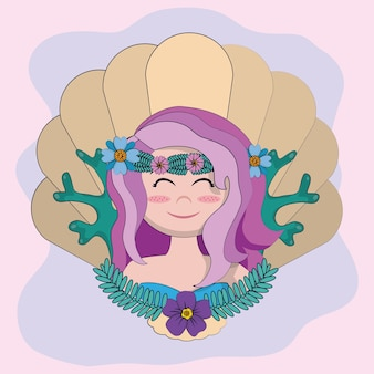 Beautiful mermaid face in shell cartoons vector illustration graphic design