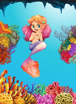 깊고 푸른 바다에서 아름다운 인어