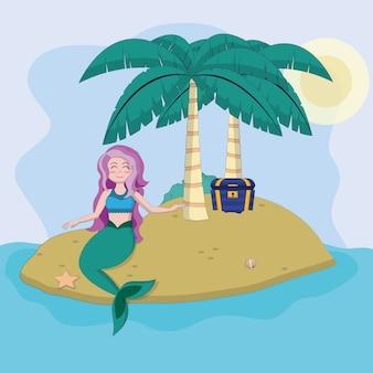 Beautiful mermaid in the island cartoon vector illustration graphic design