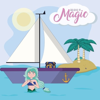 Beautiful mermaid in the island cartoon vector illustration graphic design