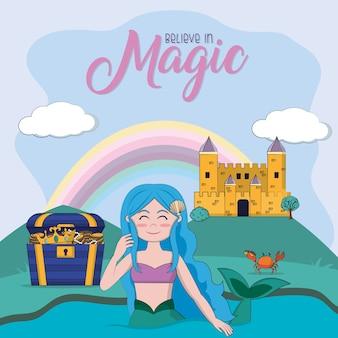 Beautiful mermaid in magic castle cartoons