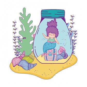 Beautiful mermaid in mason jar with seaweed