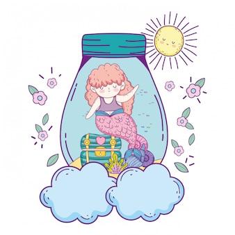 Beautiful mermaid in mason jar with treasure chest