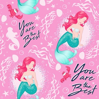 Beautiful mermaid pattern on pink  background. design for kids. fashion illustration drawing in modern style for clothes or fabric. summer print.