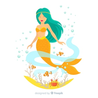 Beautiful mermaid portrait flat design